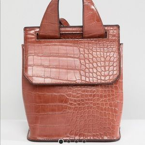 Mini faux croc skin backpack